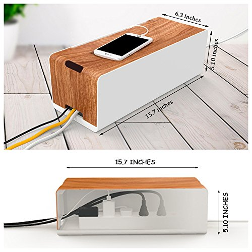 cable management box organizer by dmoose wooden style import it all. Black Bedroom Furniture Sets. Home Design Ideas