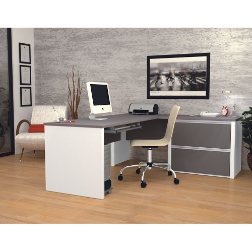 Bestar Office Space Corner - Bestar Office Furniture Connexion Collection Bordeaux Cherry Reversible L-Desk with Slate Accents