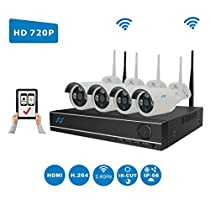 NorthShire Wireless Surveillance Camera Kit, NVR HD Security [1.0 Megapixel] Camera System with 4CH 720P 1.0MP Waterproof Superior Night Vision HD (Scan QR Code Quick Remote Access) with No HDD