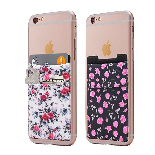 (Two) Stretchy Cell Phone Stick On Wallet Card Holder Phone Pocket For iPhone, Android and all smartphones. (Floral)