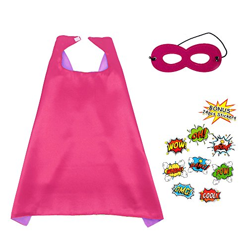 Superhero Party Cape and Mask for Kids Double Sides Dress up Costume with DIY Stickers(Rose-Purple) for $<!--$8.98-->