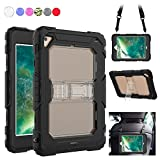 iPad Mini 4 Case, Heavy Duty with [Shoulder Strap] & [Built-in Kickstand] Rugged Shockproof [Full Body] Protective Case Cover Compatible for Apple iPad Mini 4 (2015 Release) [Black+Clear]