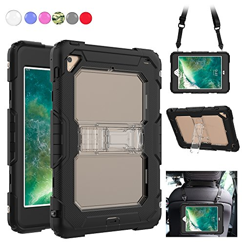 iPad Mini 4 Case, Heavy Duty with [Shoulder Strap] & [Built-in Kickstand] Rugged Shockproof [Full Body] Protective Case Cover Compatible for Apple iPad Mini 4 (2015 Release) [Black+Clear] by SXTech