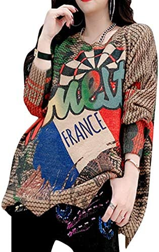 YESNO Women Casual Loose Printed Round Neck Soft Knitted Sweater Long Sleeve Side Slit S01
