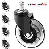 MySit Stem 10mm Caster Wheels,Ikea Casters, 3 Large Rubber Ikea Office Chair Wheel Replacement For Hardwood Floors - 5 Pack