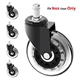 MySit Stem 10mm Caster Wheels,Ikea Casters, 3'' Large Rubber Ikea Office Chair Wheel Replacement For Hardwood Floors - 5 Pack