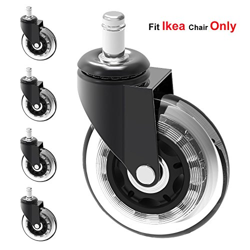 MySit Stem 10mm Caster Wheels,Ikea Casters, 3'' Large Rubber Ikea Office Chair Wheel Replacement For Hardwood Floors - 5 Pack by MySit