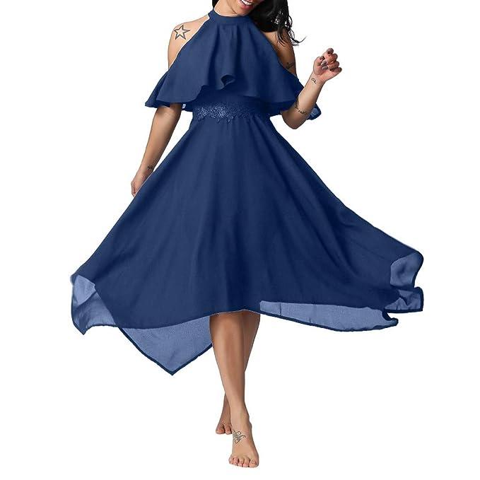 8ebc9bf332 Siswong Vestito da Donna Lungo Elegante Cerimonia Estivo Senza ...