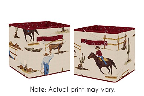 Tan and Red Cowboy Foldable Fabric Storage Cube Bins Boxes Organizer Toys Kids Baby Childrens for Wild West Collection by Sweet Jojo Designs - Set of - Crib Collection West Bedding