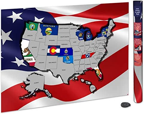 Amazon.com : Scratch Off USA Map Poster | USA Flag Scratch Map ...