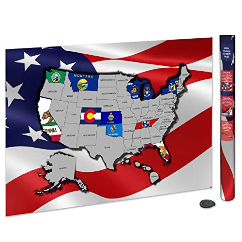 Scratch Off USA Map Poster   USA Flag Scratch Map   Scratch Off ...