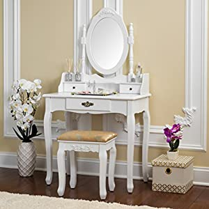 Fineboard Vanity Table Set Wooden Dressing Table with Single Mirror, White