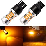 ENDPAGE 7443 7440 992 T20 LED Bulb 2-pack, Amber Yellow, Extremely Bright, 54-SMD with Projector Lens, 12-24V, Works as Turn Signal Blinker Lights