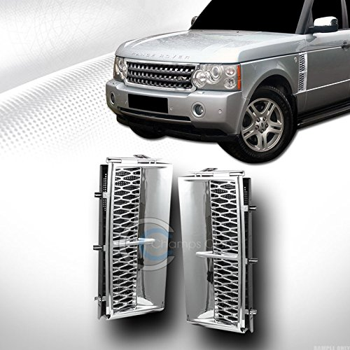 AutobotUSA Chrome Luxury Side Fender Honeycomb Sport Mesh Air Intake Vent Grill Grille Cover for Land Range Rover L322 2003-2012 Models   03-12 Land Rover L322