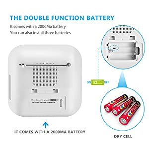 Coisound Radio Alarm Clock & Phone Charger | Clever Touch Buttons, LCD Screen, Timer, AM/FM Radio, Temperature Display, Adjustable Brightness, Day & Date, Sleep Timer & More For Home / Work - White