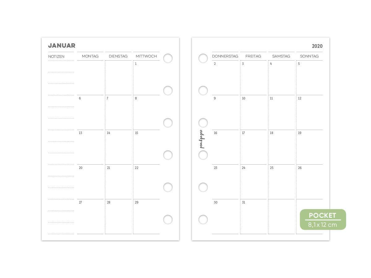 Agenda tascabile pen /& pages/® 2020 1 mese su 2 pagine 6 fori 8,1 x 12 cm