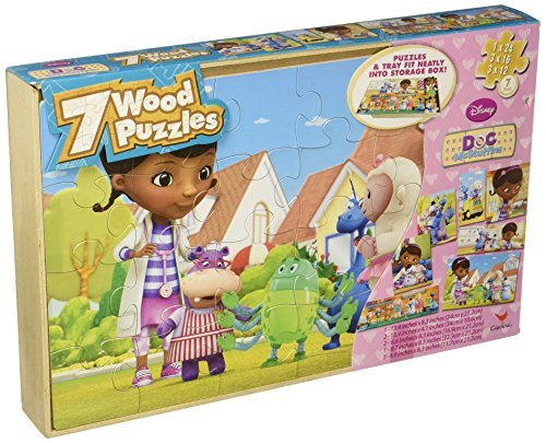Disney Doc McStuffins 7 Wood Puzzles In Wooden Storage Box (styles will vary)