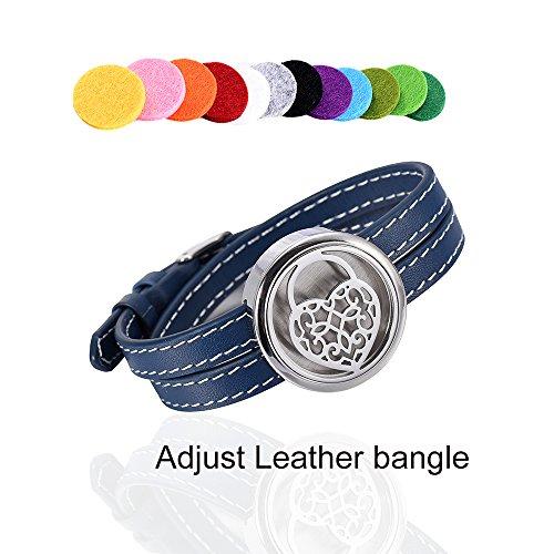 Blue Series Adjustable Leather Perfume Bangle Memorial Air Freshener Bracelet Elegant Essential Oil Diffuser Bangle for Love Christmas Gift & Free Refilled Pads & Gift Box (Heart ()