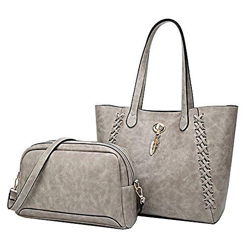 capacity Leather Bag Bag Fashion Shoulder Bag FLHT Handbag Cowhide Messenger Women's Grey Large agw1Hqz