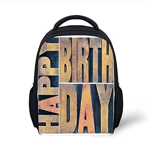iPrint Kids School Backpack Birthday Decorations,Letterpress Wood Type Printing Blocks Rectangles Typography,Light Brown Dark Blue Plain Bookbag Travel Daypack
