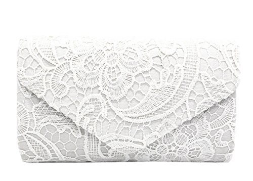 Clutch Purse Handbag Evening Bag Lace Messenger Bag Wedding Party Bag (White) by Sheliky