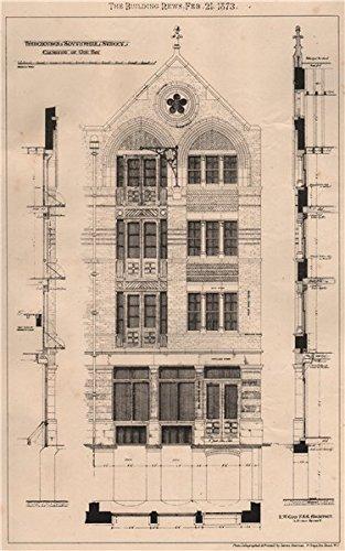 Warehouses, Southwark Street. Elevation of one bay; RW Edis Architect - 1873 - old print - antique print - vintage print - London art prints