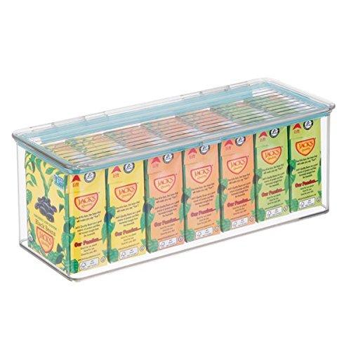 Envases pl/ásticos para alimentos con 2,8 litros de capacidad transparente Cajas apilables de pl/ástico sin BPA congelador y cocina con tapa herm/ética mDesign Organizador de nevera