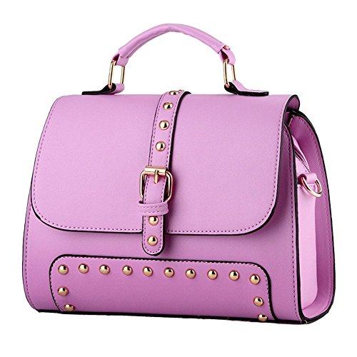 QCKJ-Lorenz-Borsa a tracolla da donna in ecopelle, con rivetti, colore: viola