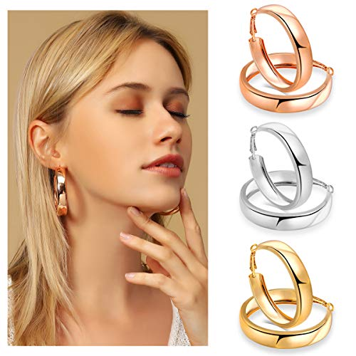 - 3 Pairs Fashion Hoop Earrings,30mm Stainless Steel Big Hoop Earrings in Gold Plated Rose Gold Plated Silver for Women Girls