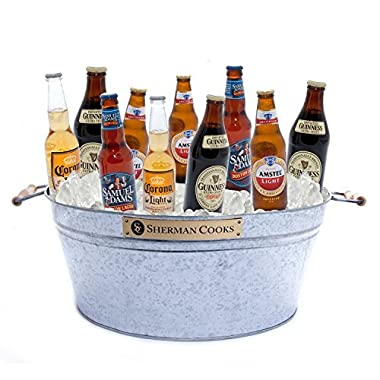 Galvanized Party Ice Bucket to Cool Beer, Wine, Champagne, Water, Soda & Juice. Large Metal Steel Tub Won't Rust or Leak. Indoor or Outdoor Use..