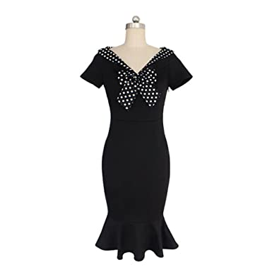 TYWAG 2018 Women Bow Slim Pencil Dress Vintage Dots Short Sleeve Vestido Black S