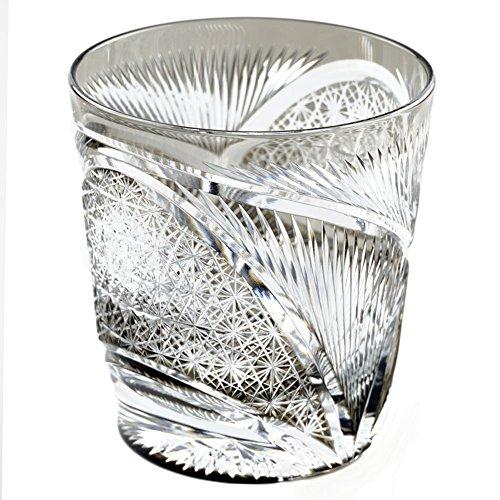 Edo Kiriko Crystal Double Old Fashioned Glass, 8.4oz Cut Glass Hisho Skyward - Black [Japanese Crafts Sakura] by Japanese Crafts Sakura