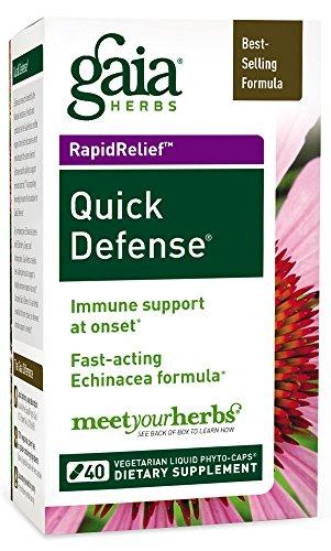 Gaia Herbs Quick Defense, Vegan Liquid Capsules, 40 Count - Rapid Immune Support When Your Immune System Needs It, Echinacea, Ginger Root and Sambucus Black Elderberry (Immune Defense System)