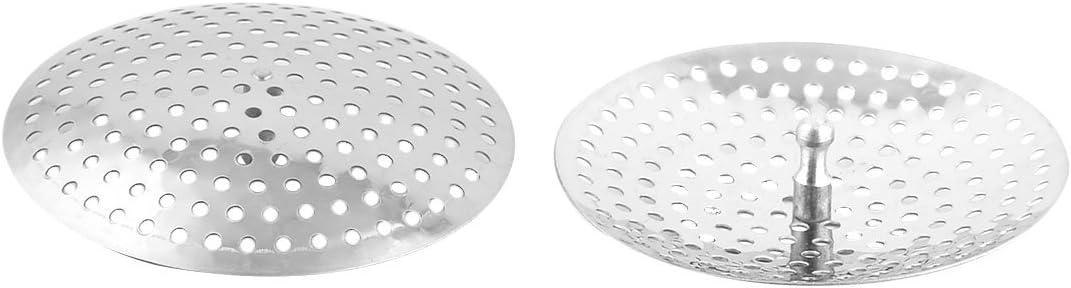 uxcell 2pcs Stainless Steel Flat Round Design Sink Washbasin Strainer Stopper 7.9cm Dia Anti-Blocking Drain Stopper