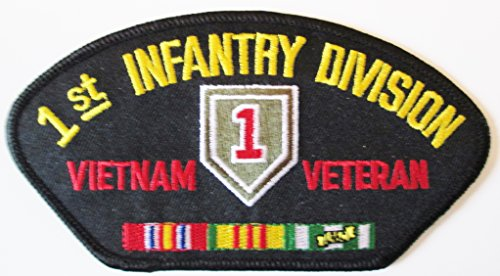 1ST INFANTRY DIVISION VIETNAM VETERAN W/RIBBON BLACK EMBLEM PATCH. 2 PER ORDER.(Can be sewn or ironed on jacket or hat) Patch - Military Division Jacket