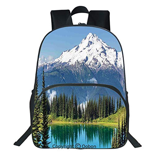 (Oobon Kids Toddler School Waterproof 3D Cartoon Backpack, Lake and Snowy Glacier Peak in Washington USA Tall Pine Tree Forest, Fits 14 Inch Laptop)