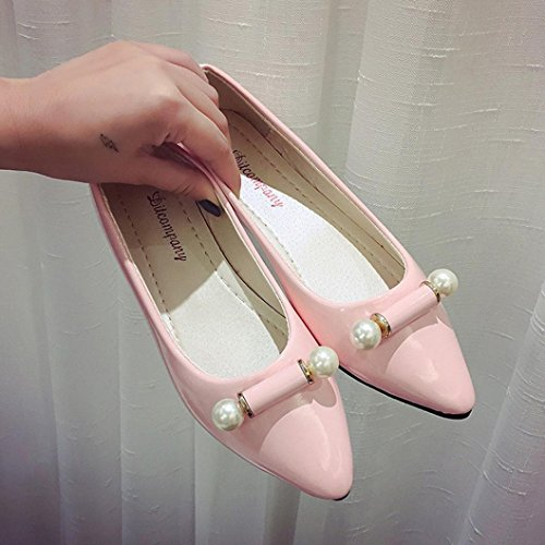 Zapatos respiración de moda planos Zapatos de perla mujer Tefamore casual Rosado Zapatos de embarazada PIwqRS