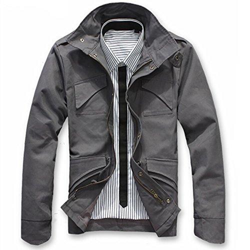 Merryfun Men's Slim Fit Zipper Thick Military Rider Jacket (M, Red Gray)