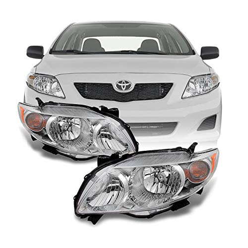For Toyota Corolla Base | LE | XLE Chrome Headlights Driver Left + Passenger Right Side Replacement Pair