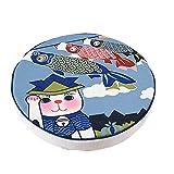 dream_home Japanese Style Zafu Meditation Yoga Bolster, Tatami Floor Round Cushion, Cat Print, 20 Inch