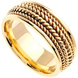 14K Yellow Gold Braided Rope Edge Mens Comfort Fit Wedding Band (8mm)