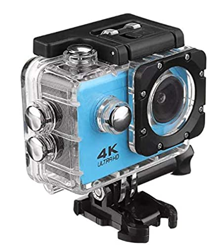 Systene 1080P WiFi Sports Camera 2 .0 Inch LCD Display Ultra HD 4K 12MP 170D Wide Angle Full HD Lens Underwater 98FT 30m   Blue Action Cameras