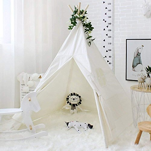 Love Tree Teepee Tent for Kids Indian Children Play Tent Cotton Canvas Portable Playhouse for Indoor Outdoor with Carry Bag -
