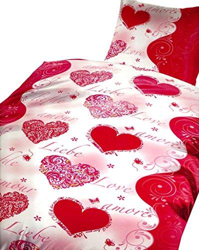 4 tlg. / 2x2 tlg. Microfaser Bettwäsche 135 x 200 cm Garnitur Sparset Love Liebe Herz Romantik rot/weiß Modern Doppelpack mit Reißverschluss