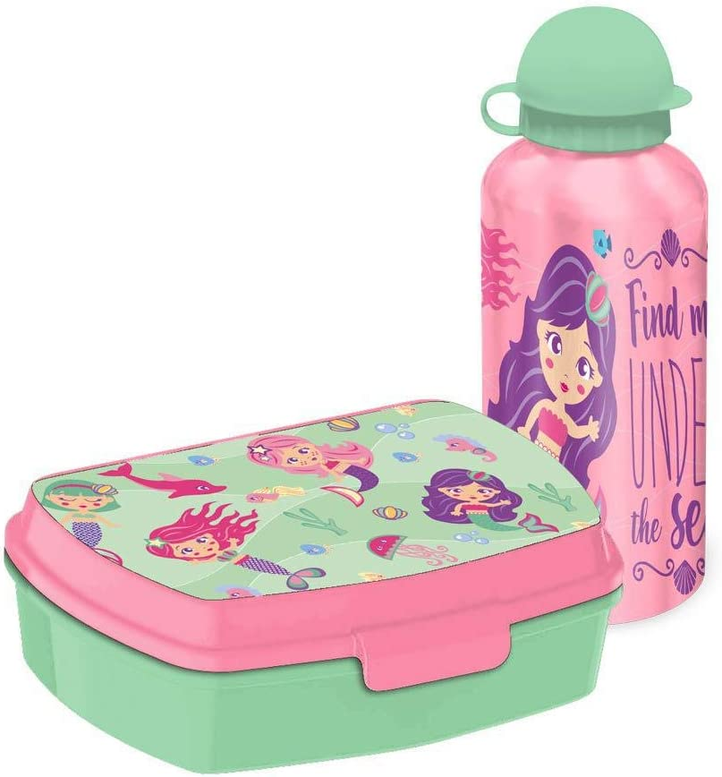 Kids Set Sandwichera Plastico Y Cantimplora Aluminio de Siren Bolsa de Tela Y de Playa, 40 cm, Multicolor