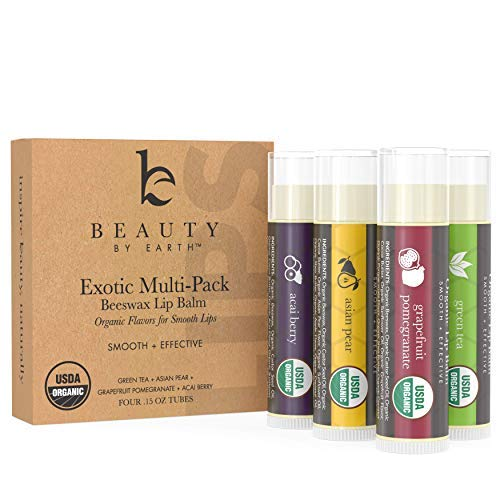 Lip Balm - Organic Pack of 4 Tubes Flavored Moisturizer to Repair Dry, Chapped and Cracked Lips With Best Natural Ingredients with Fruity Flavors - Great Gifts for Men, Women, Teens