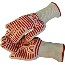 Grill Heat Aid - Extreme 932°F Heat Resistant - Light-Weight, Flexible BBQ Gloves - 100% Cotton Lining For Super Comfort - Red Stripes for Ultimate Grip - Versatile than Oven Mitt and Potholders - Best for Fireplace, Barbecue, Baking, Microwave, Camping... 100% Satisfaction Guarantee!