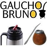 Yerba Mate zucca , Bombilla e Flask Gaucho Bruno con precisione Beccuccio