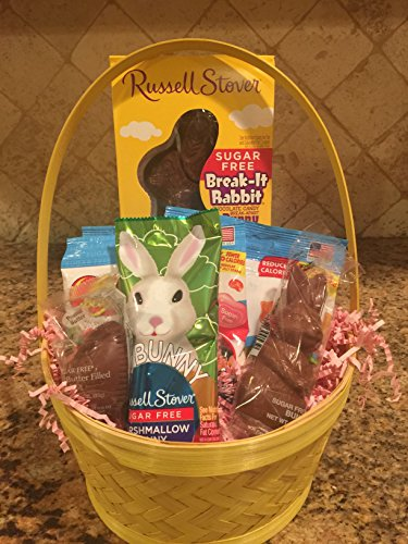 Sugar Free Easter Bunny Basket with Chocolate and Candy all beautifully wrapped and ready to give for Easter by Diabetic Candy – Diabetic Friendly