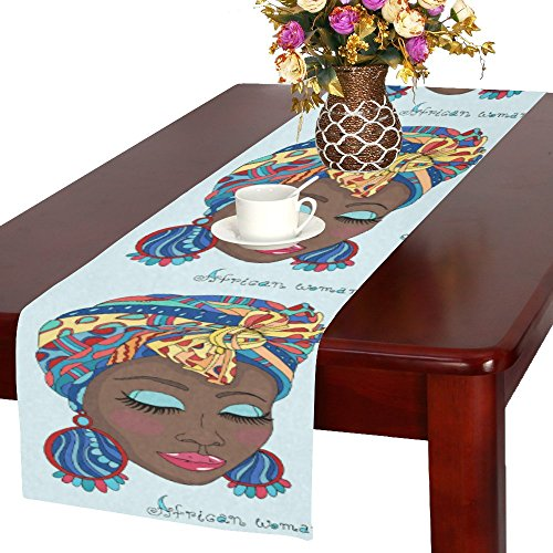 your-fantasia Custom New A Beautiful African Girl in a Scarf Drape Cotton Linen Table Runner 14x72 inch